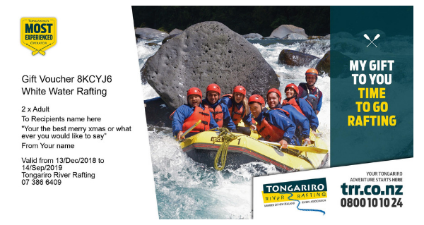 Tongariro River Rafting Gift Voucher